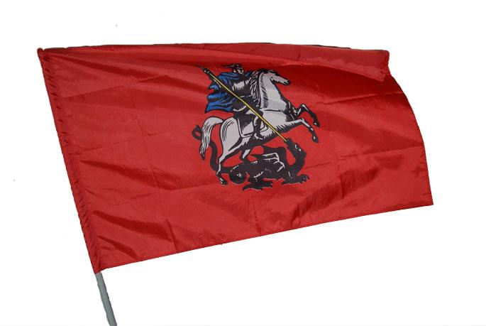 Флаг москвы с палочкой полиэфирный